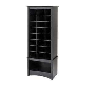 24 Pair Black Wood Shoe Cubbie Cabinet