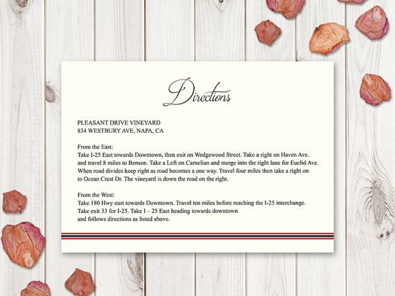 Wedding Directions Card Template Classic Roses by ShishkoTemplates