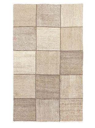 80% OFF Hand Woven Moldovia Mod Patch Flatweave Kilim, Cream, 3' 10
