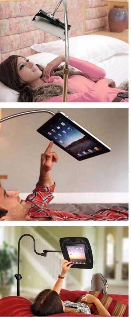 Desk lamp used as iPad stand! Hahaha