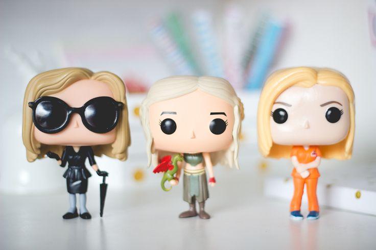 Funko Pop de personagens das séries American Horror Story (AHS), Game of Thrones (GOT) e Orange Is The New Black (OITNB) Fiona Goode, Daenerys Targaryen e Piper Chapman