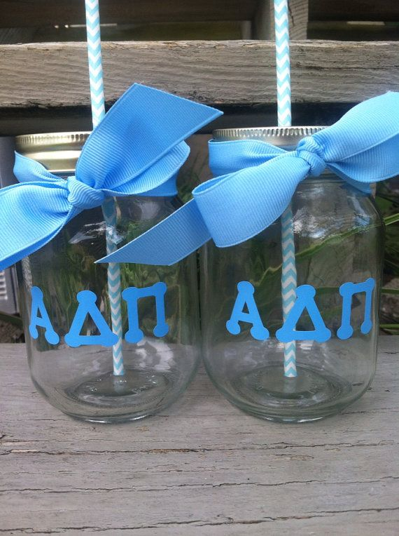 Alpha Delta Pi Personalized Mason Jar Cup by TooCutePersonalized