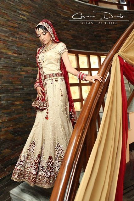 Red Cream Bridal Lengha : Shaadi Belles : Search, Save, & Share your South Asian Inspiration