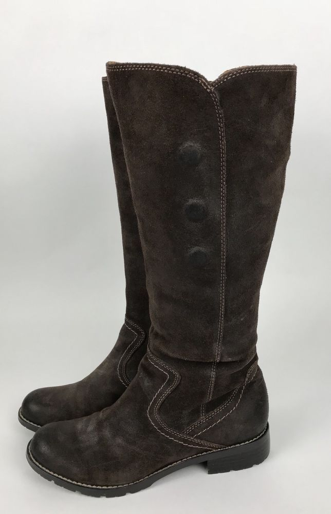 b83001b9def Details about Sofft Womens Brown Leather Suede Knee High Zip Boots ...