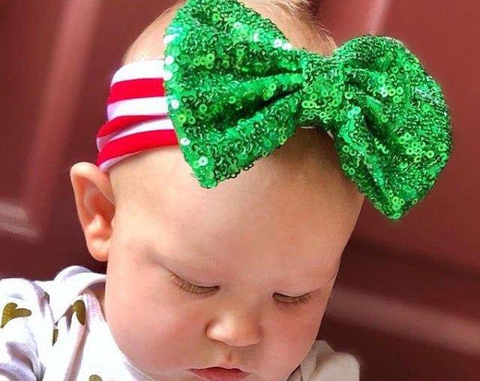 Nylon Baby Headband Christmas Headband Holiday Bow Christmas Baby Headband Christmas Tree Headband Bow Baby First Christmas