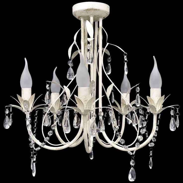 Kronleuchter Pendelleuchte Deckenleuchte Kristall Lampe Lüster Leuchte weiß 1 | eBay