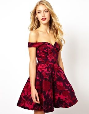 Wedding Guest Dress: ASOS Velvet Floral Bardot Skater Dress, $100