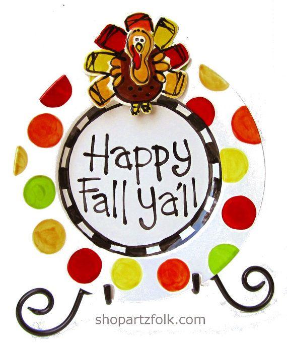 happy fall yall turkey plate home decor 10 size by artzfolk 4500 - Halloween Ceramic Plates