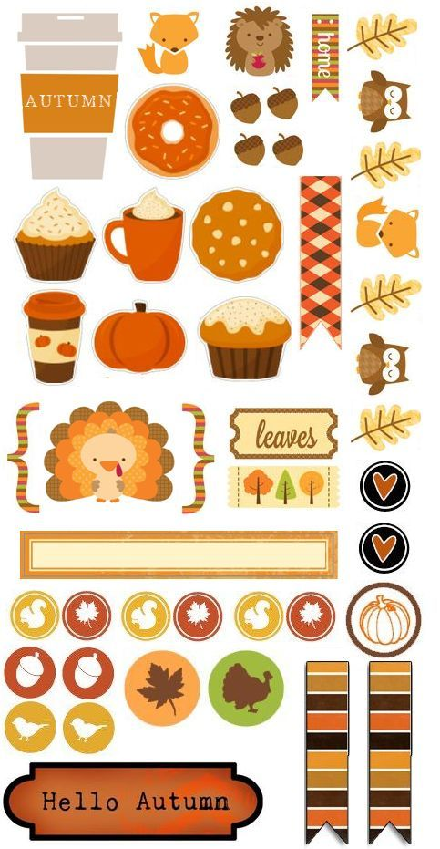 Autumn Planner Bits & Pieces (I Do Not Own Any Of The Images) #printable