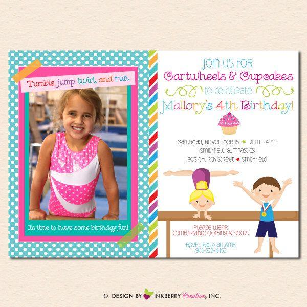 Boy Girl Gymnastics Birthday Party Invitation - Cartwheels & Cupcakes - PHOTO VERSION - (Digital File - Printable) by inkberrycards on Etsy https://www.etsy.com/listing/220540870/boy-girl-gymnastics-birthday-party