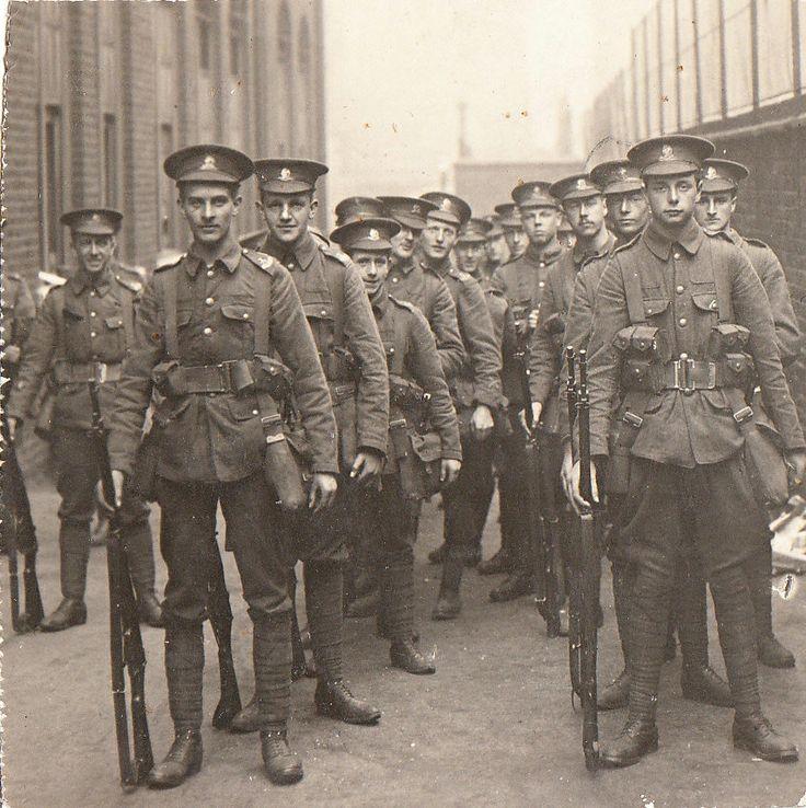 1914. Mobilisation. Men of The Artists Rifles form up. Probably Lancing Street School, Euston.