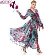 ACEVOG Марка Женщины Дамы Лето Осень Свободно Случайные V-образным Вырезом Шифон Длинные Макси Пляж Шифоновое Платье Vestidos Лонго(China (Mainland))