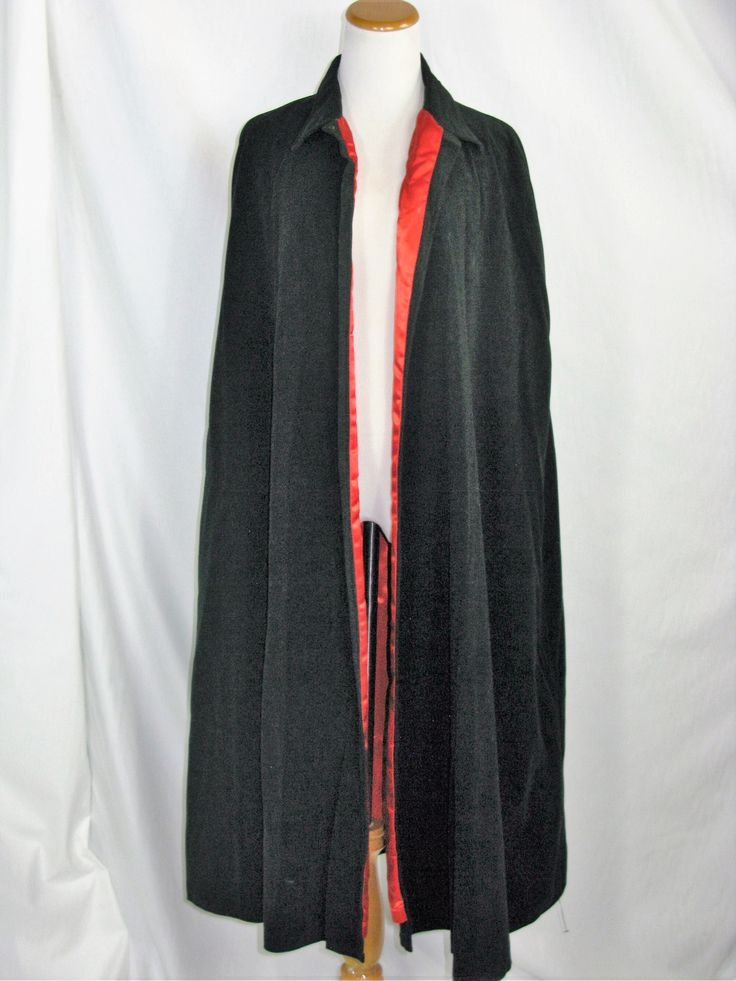 Black Velvet Like Red Satin Lined Cape with Collar and Snap & Button Neck…