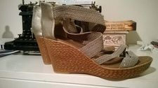 Sz 38 (7-7.5) Silver and Grey Wedge Heels