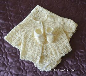 Crochet Baby Sets, Ideal for christenings, Unique Crochet Blanket Cardigan and Booties.