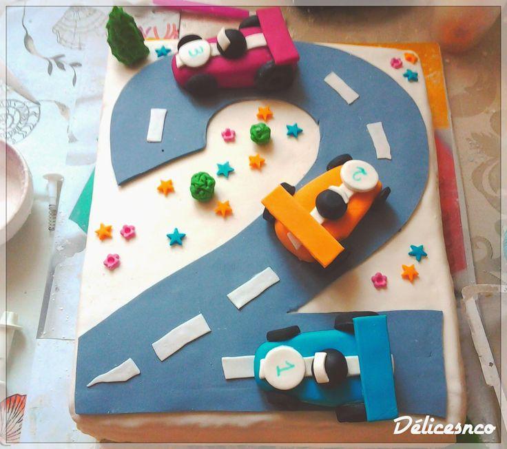 Mon bibou à deux ans, enfin à eu deux ans et pour son anniversaire j'ai décidé de lui faire un gâteau sur le thème des voitures, il est en ...