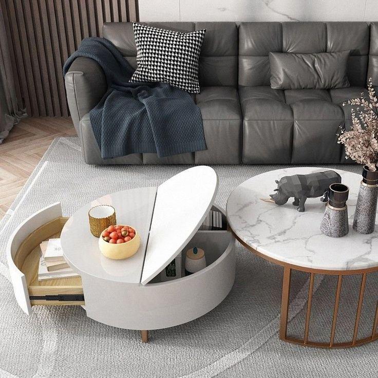 Modern White & Walnut / White Round Coffee Table with ...