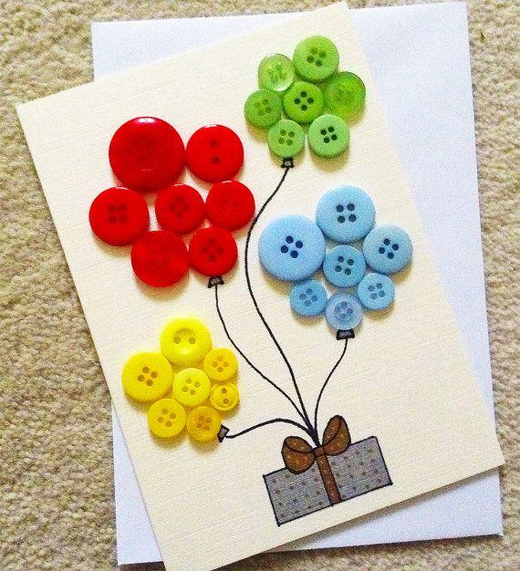 Handmade Happy Birthday Button Balloon Card Blank YOU by Biskh, £2.50