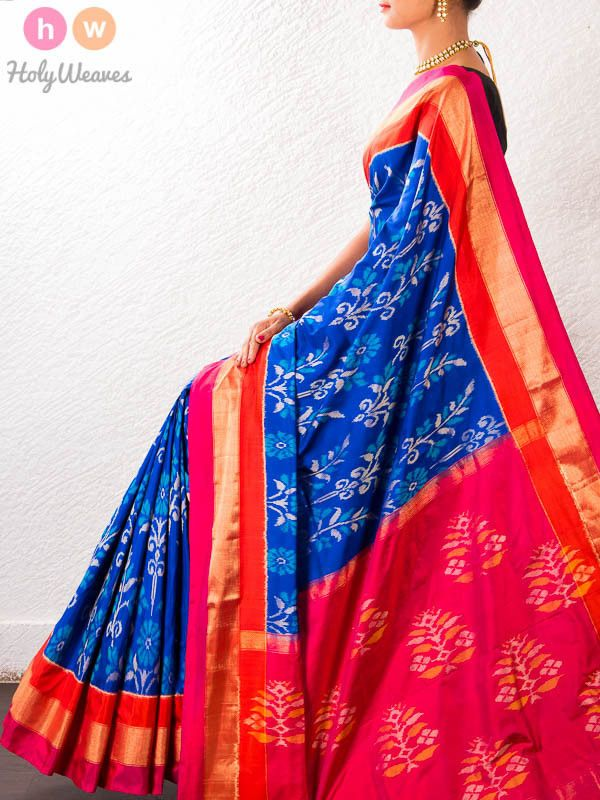 Blue Handwoven Katan Silk Pochampally Saree - HolyWeaves