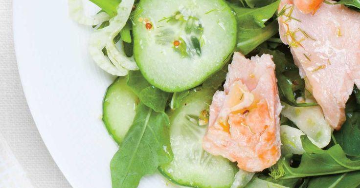 Salade de saumon froid, concombre et fenouil à l'aneth