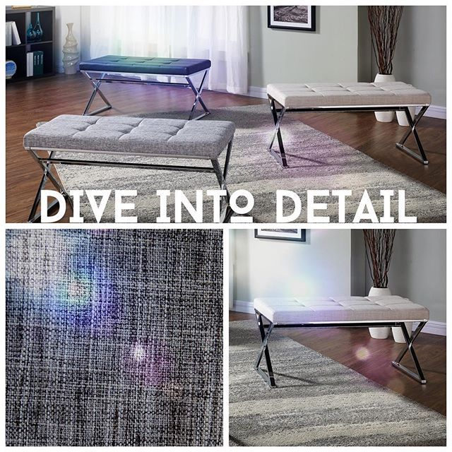 !nspire Tip: Subtle detail & texture adds a touch of coziness & flare to any room!   http://inspireathome.com/accent-seating/benches/vapor-double-bench-in-black.html