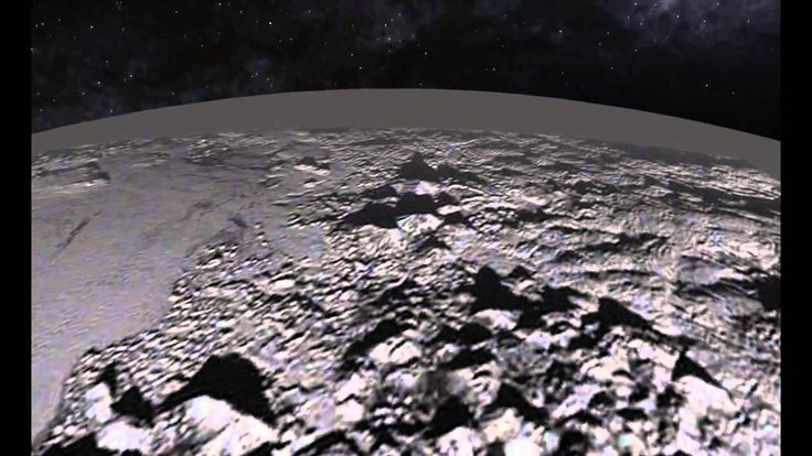 Fly-over of Pluto's Icy Mountain and Plains