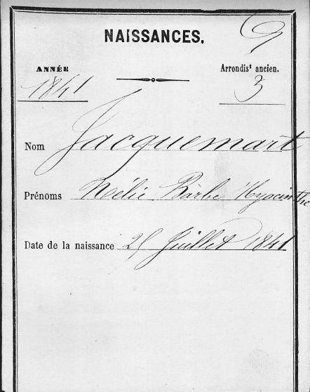 Acte de naissance (État-Civil reconstitué de Paris) de Nélie JACQUEMART-ANDRÉ (1841-1912), artiste-peintre et collectionneur. © Archives de Paris (75)