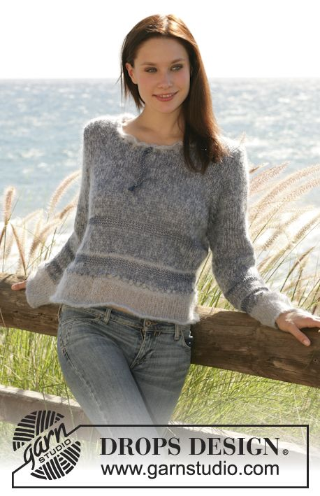 DROPS jersey in Vivaldi, Cotton Viscose and Glitter with stripes and wide neck with tie Free pattern by DROPS Design.