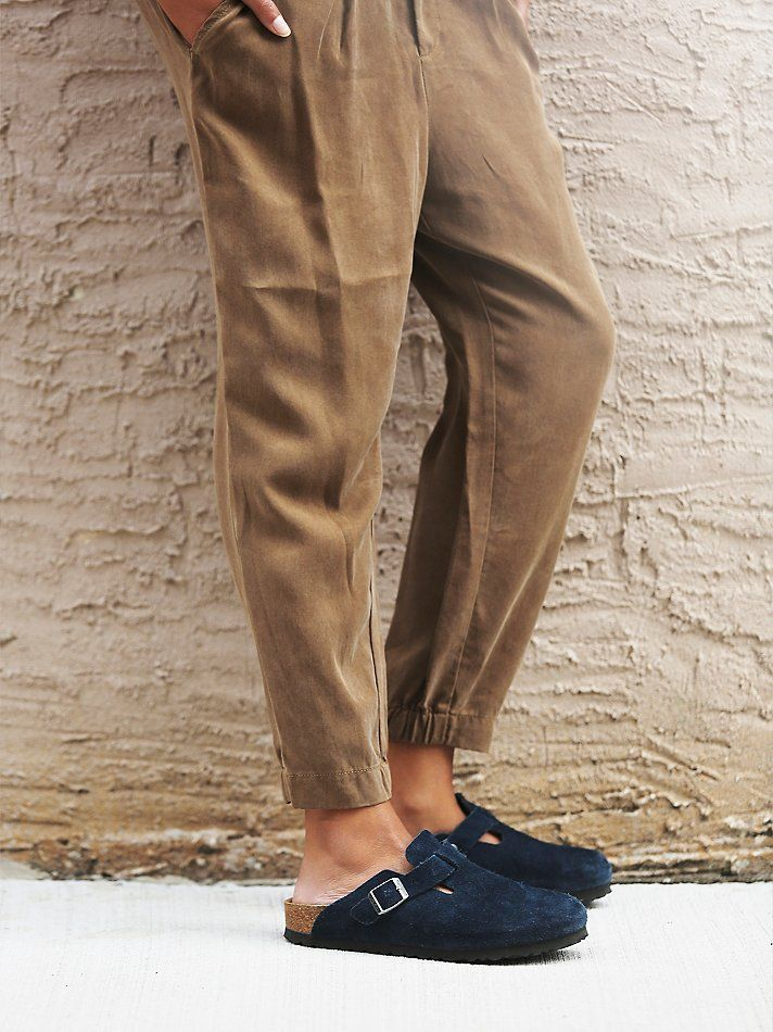 Birkenstock Boston in denim suede at Free People Clothing Boutique