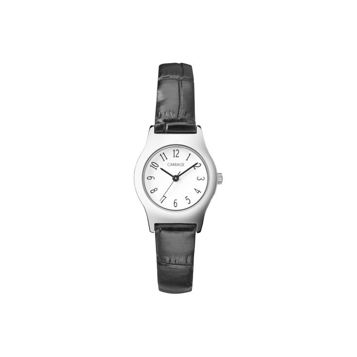 Women's Carriage by Timex Watch with Leather Strap- Silver/Black C3C364TG