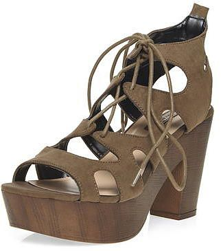 Womens khaki brown khaki 'petra' heeled sandals- khaki from Dorothy Perkins - £39 at ClothingByColour.com