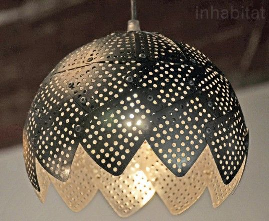 It's a pretty old trick to take a simple steamer or colander and use it as a light shade, so designer Nadia Belalia upped the ante with her series of transformed and customized steamer lamps. Belalia has deconstructed the lowly kitchenutensilinto a series of lamps with asteampunk sensibility – rivets pin petals of folded stainless steel, giving each design a kinetic punch.