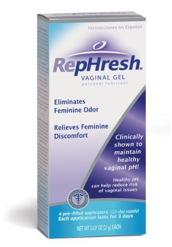 RepHresh Vaginal Gel, 4 Prefilled Applicators by RepHresh. $12.96. Personal lubricant. Eliminates feminine odor. Relieves feminine discomfort. Clinically shown to maintain healthy vaginal pH! Healthy pH can help reduce the risk of vaginal issues. Recommended by gynecologists. 4 pre-filled applicators (12-day supply). Each application lasts for 3 days. Studies show that vaginal issues often occur when vaginal pH is unbalanced. By maintaining a healthy vaginal pH, you c...