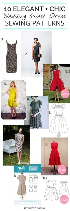 """10 Wedding Guest Dresses to Make   A special occasion is just the motivation I need to sew something a little more advanced than usual. Here are 10 sewing patterns which would make an elegant and chic wedding guest outfit.3 of them are free!   Use """"PINTEREST15"""" for 15% off my ebooks."""
