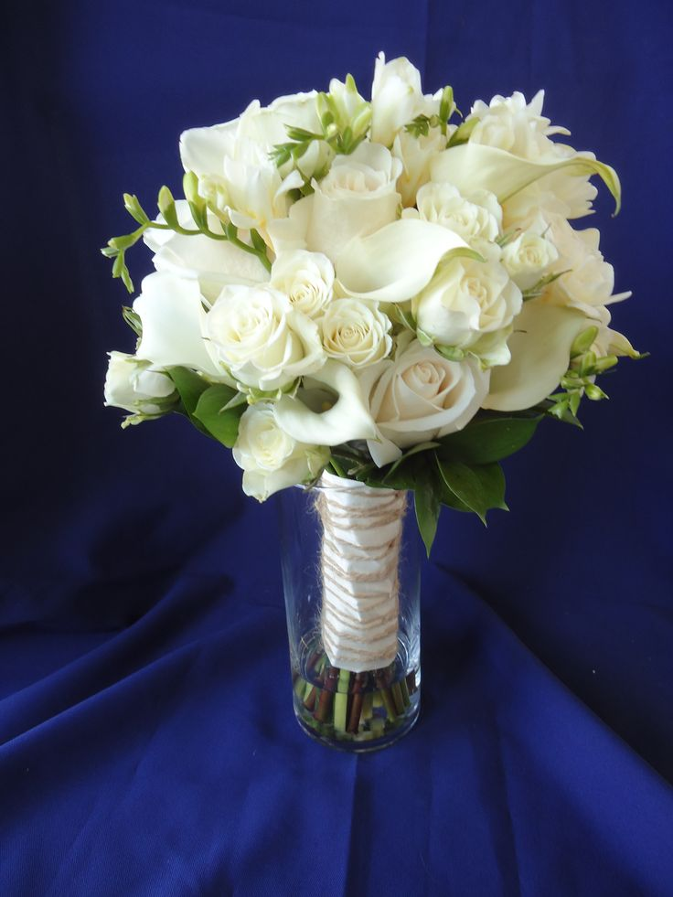 White Calla, Rose and Freesia Bridal Bouquet