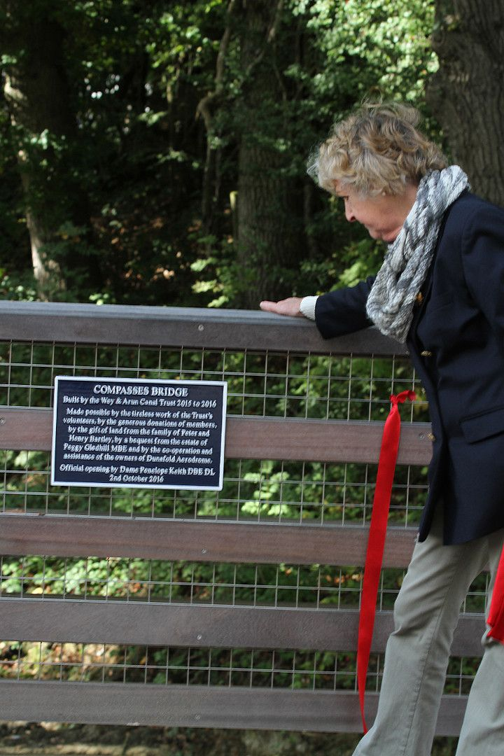 Dame Penelope Keith with the plaque at the opening of the Wey and Arun Canal Trust's Compasses Bridge in Alfold, Surrey, October 2, 2016