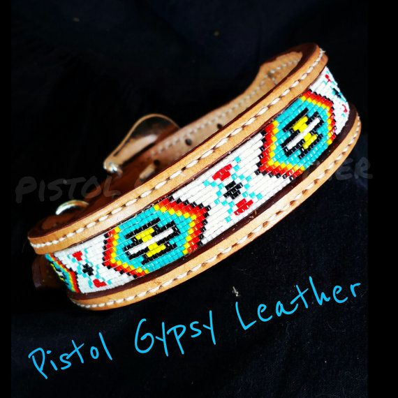 1 1/4 Wide Beaded Dog Collar  by PistolGypsyLeather on Etsy, $65.00