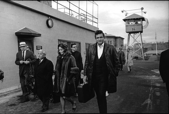 Johnny Cash and June Carter Cash after their show at San Quentin State Prison, San Quentin, CA, USA, 24 February 1969.