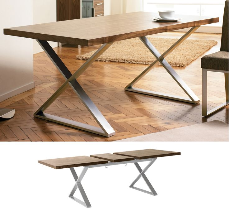 dwell - Crossed leg walnut extendable dining table