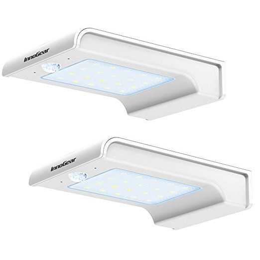 InnoGear 20 LED Solar Lights Motion Sensor Detector Gutter Outdoor Security Light, Pack of 2 (White)