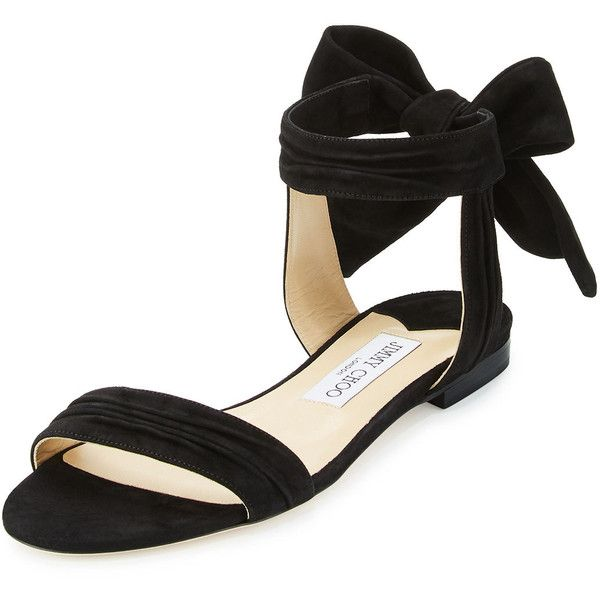 Jimmy Choo Kora Suede Ankle-Wrap Flat Sandal (2.510 BRL) ❤ liked on Polyvore featuring shoes, sandals, black, ankle strap flats, black strap sandals, black suede sandals, t-strap flats and ankle strap sandals