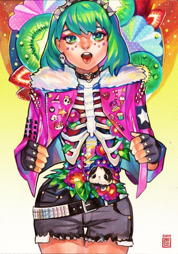 Candy Gore  Holo floret Art Print  Rian door InkInkCollectibles