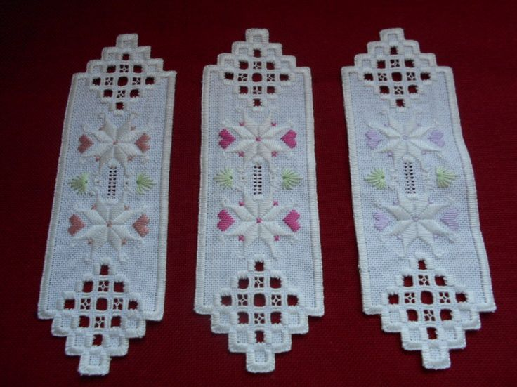 Hardanger bookmarks, using scraps from my last table runner - stitchin fingers