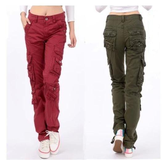 Damen Cargo Hose in Khaki oder Rot