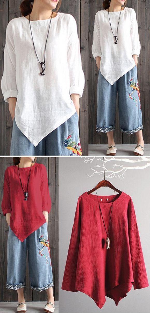 $28.99 USD Sale! Free Shipping! Shop Now! Vintage Cotton Linen Long Sleeve Shirt… – purple dancer designs