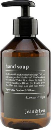 Die Handseife Rosemary+Ginger von Jean&Len reinigt beanspruchte Hände sanft. Panthenol und rückfettende Wirkstoffe schützen die Haut. Für reine und...