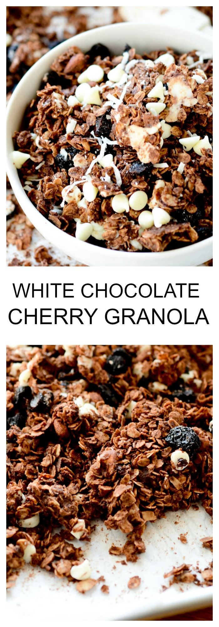 White Chocolate Cherry Granola - Recipe Diaries #granola
