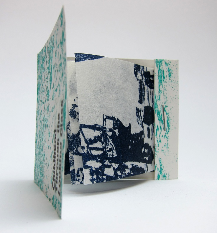 """""""Childhood through the Looking Glass II"""".  Cindy Robinson-Begg. Matchbook style booklet of photographic images on white kozo paper. Part of the Sunderland Book project, curated by Theresa Easton."""