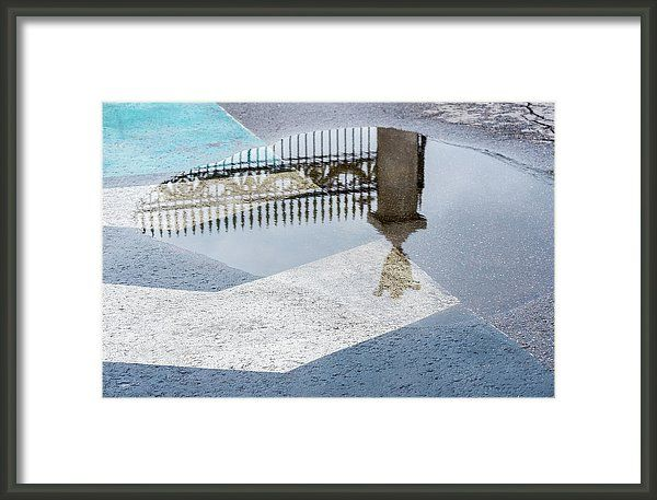 Reflections of Past by Svetlana Iso   Decorative historic metal fence reflected in puddle after rain, blue block pavement #SvetlanaIso #SvetlanaIsoFineArtPhotography #Photography #ArtForHome #InteriorDesign #FineArtPrints #Home # Reflection #Gift #Dreams #Postcard #Vintage #Retro