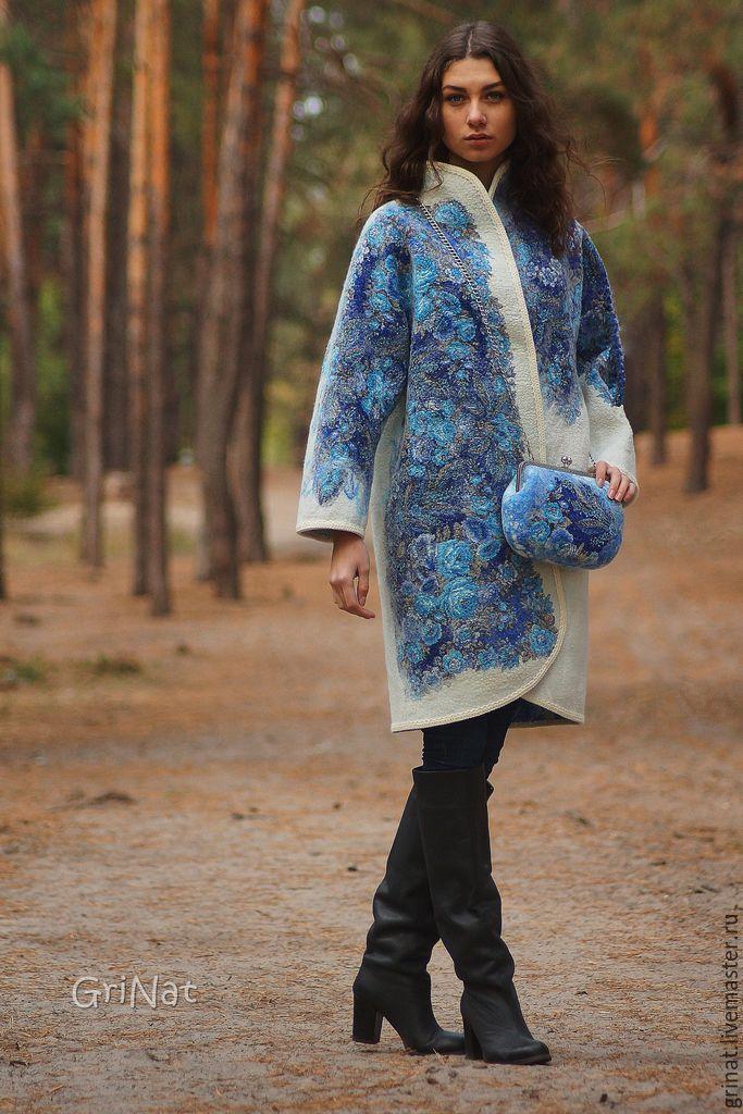 """Купить Пальто валяное""""Васильковая прохлада"""" - белый, цветочный, пальто белое, Пальто ручной работы, grinat"""